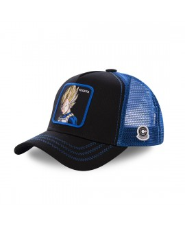 Casquette Capslab Dragon Ball Z Vegeta Saiyan Noir Filet Bleu